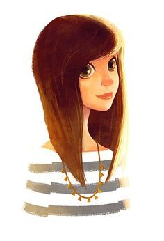 Girl With Brown Hair Cute Illustration Character Art