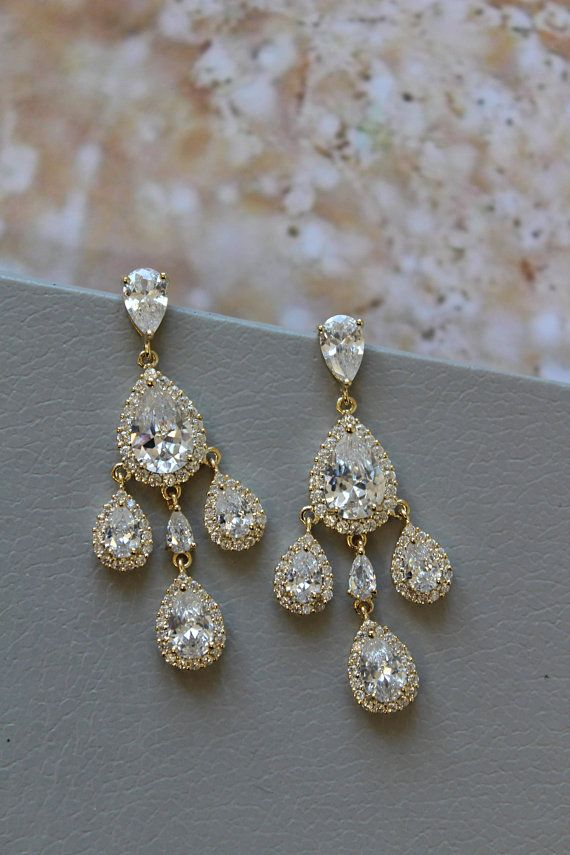 Gold Bridal Earrings Crystal Teardrop Chandelier Wedding Jewelry Jewellery Uk In 2018 3 Etsy