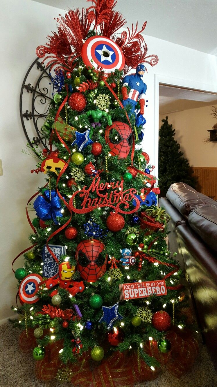 Marvel Super Heroes Tree Christmas Tree Themes Superhero Christmas Disney Christmas Tree