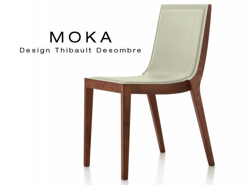 Lot De 6 Chaises Design MOKA En Bois Assise Capitonne Cuir Couvrant Coll