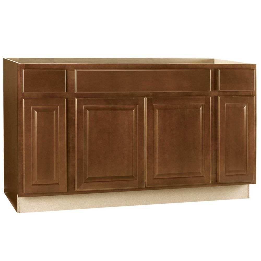 Hampton Bay 60x34 5x24 In Cambria Sink Base Cabinet In Cognac Ksb60 Cog The Home Depot Base Cabinets Cabinet The Home Depot