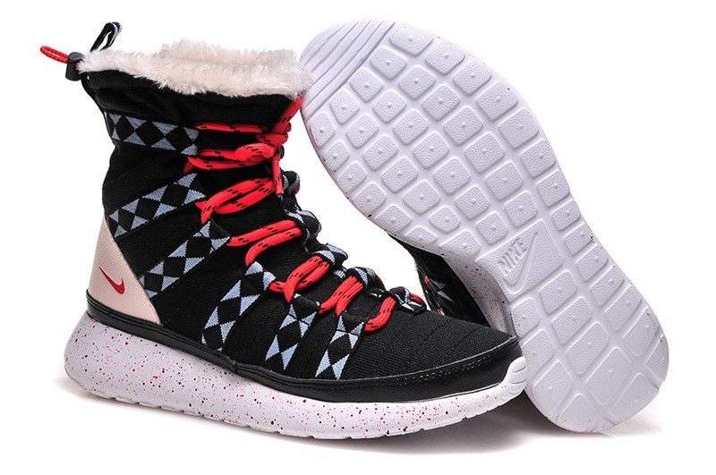 hot sale online 7309b 00865 Nike Roshe Run Sherpa Snow Boots HI Sneakerboot Print Mujer Negro Rojo