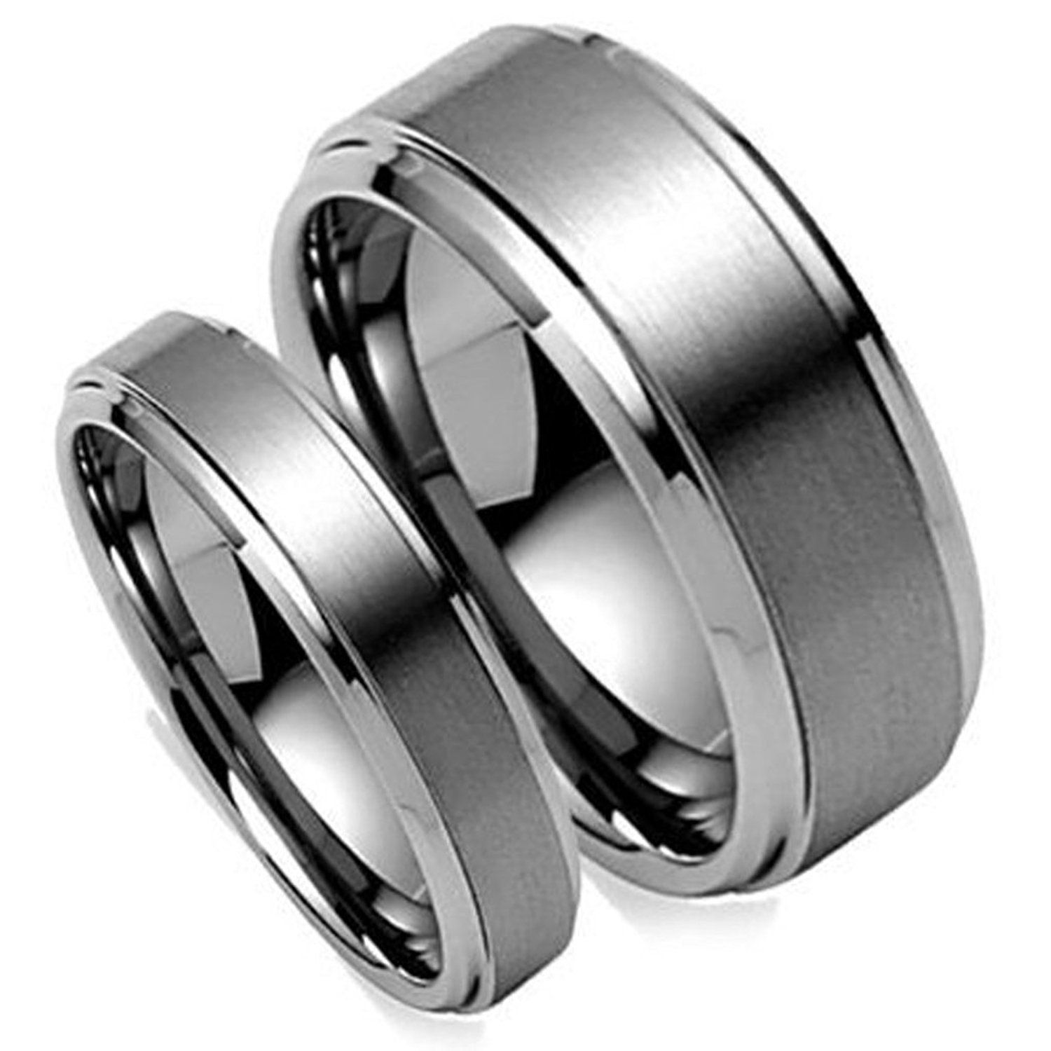His and Hers 8MM6MM Brush Center Step Edge Tungsten Carbide