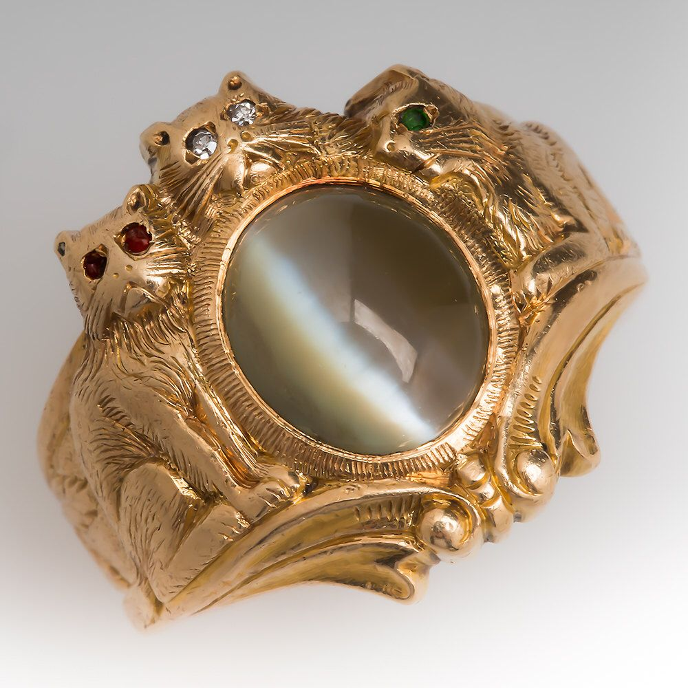 Vintage Mens Ring Retro Mens Cat Ring with 3.78 Carat