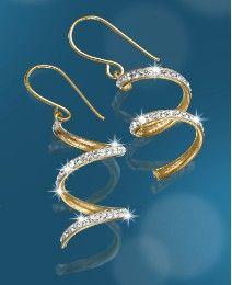 9 Carat Gold Crystal-Set Swirl Earrings