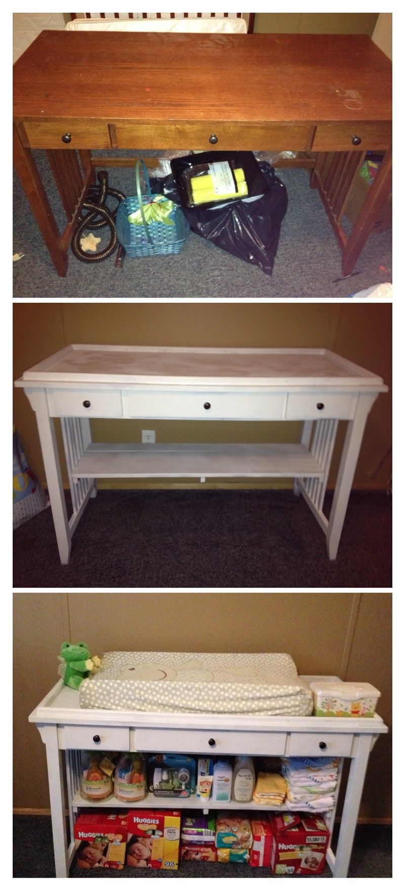 Making A Desk Into Changing Table To