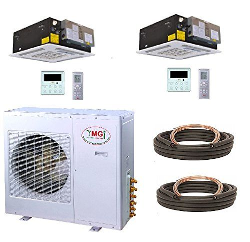 Ymgi Dual Zone 36000 Btu 18k 18k 21 Seer 3 Ton Ceiling Cassette Ductless Mini Split Air Conditioner With H Room Air Conditioners Ductless Mini Split Ductless