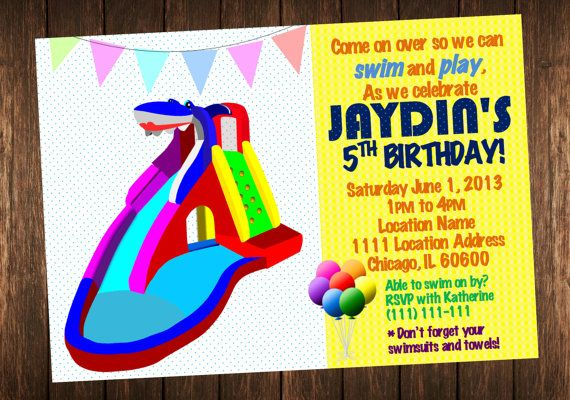 Water Slide Invitation Pool Party Birthday Invite Printable