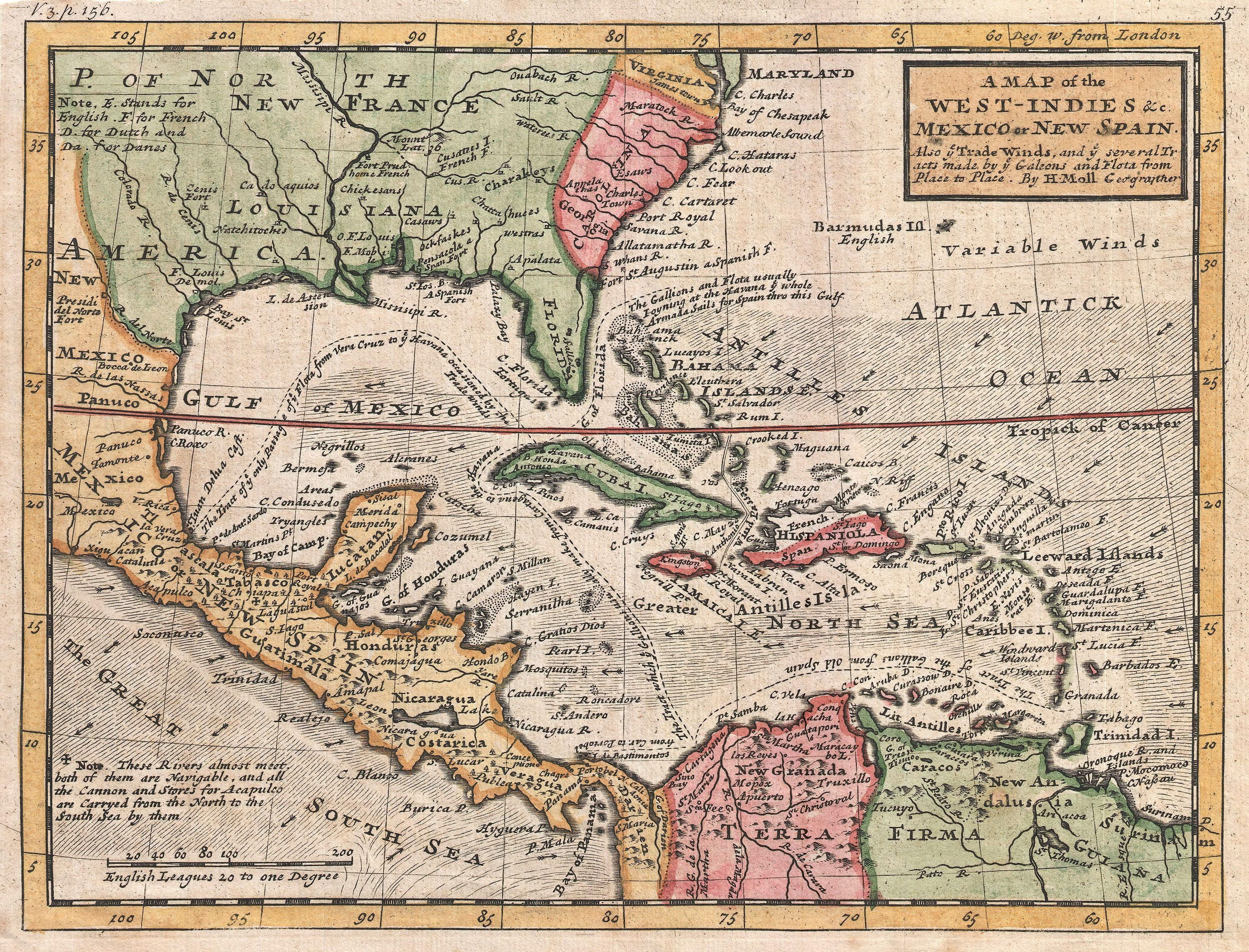 Map of the caribbean sea and its islands pinterest ocean current 1732 map of the west indies molls map covers all of the west indies eastern mexico all of central america the gulf of mexico gumiabroncs Images