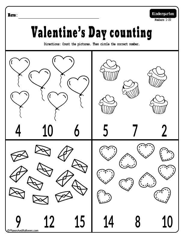Fun Valentine S Day Kindergarten Math Worksheets Free Printable Counting Worksheets For Kindergarten Valentine Worksheets Numbers Kindergarten Math Valentines