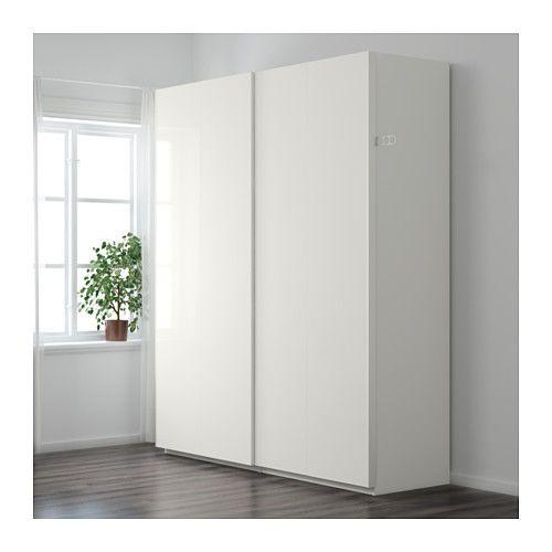 Pax Wardrobe White Hasvik High Gloss White 78 3 4x26x93 1 8