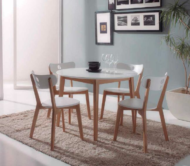 Conjunto mesa de cocina redonda con 4 sillas cristal