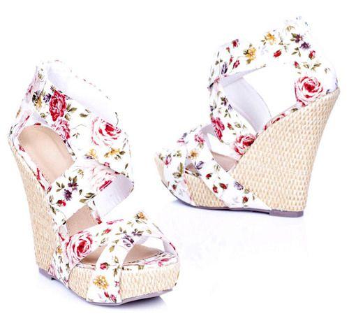 Produkty Obuwie Damskie Koturny Melissa Floral Wedges Mma2 Shoes White Wedges Shoe Addict