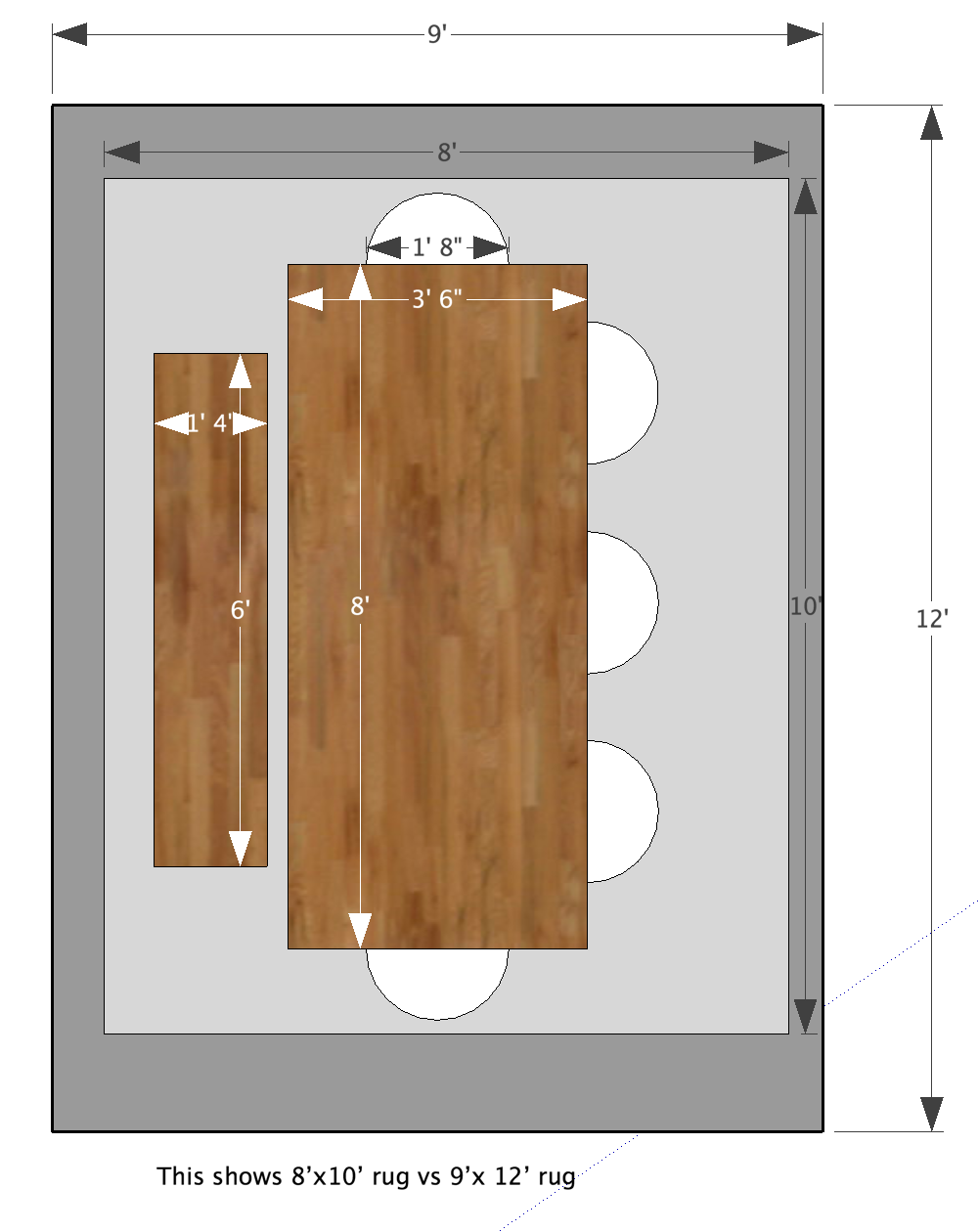 Dining Room Table Rug Layout 8 X10 Vs 9 X12 Rugs Layout Dining Room Table Locker Storage