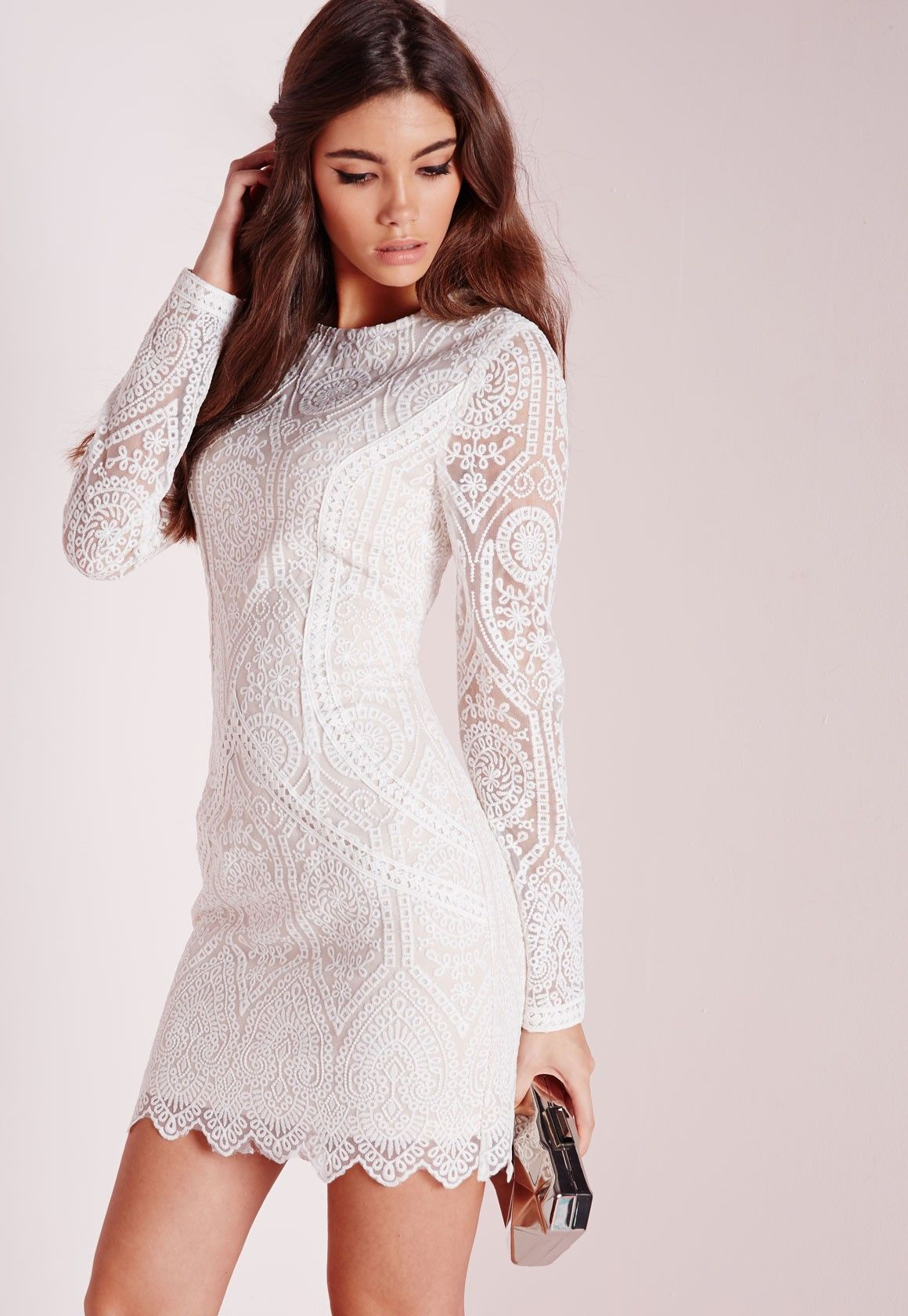 022c9d312588 Missguided - Lace Long Sleeve Bodycon Dress White/Nude | Dress in ...