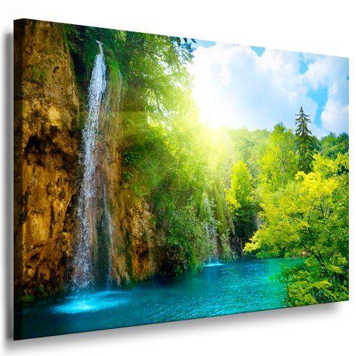 Bilder Kunstdrucke / Boikal / Leinwand Bild Mit Keilrahmen Wald, Wasserfall  100x70 Cm Xxl.