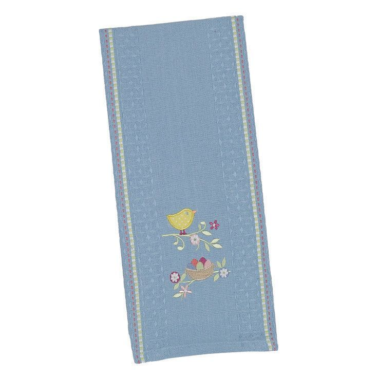 Easter Chick Embroidered Dishtowel