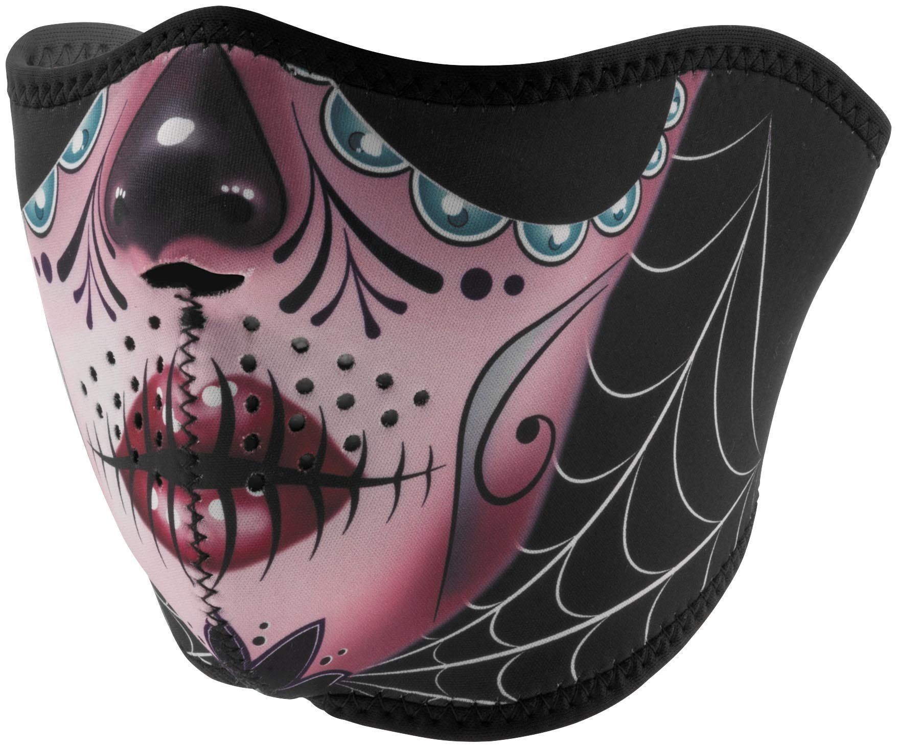 Zan Headgear Half Mask, Neoprene, Sugar Skull Reversible