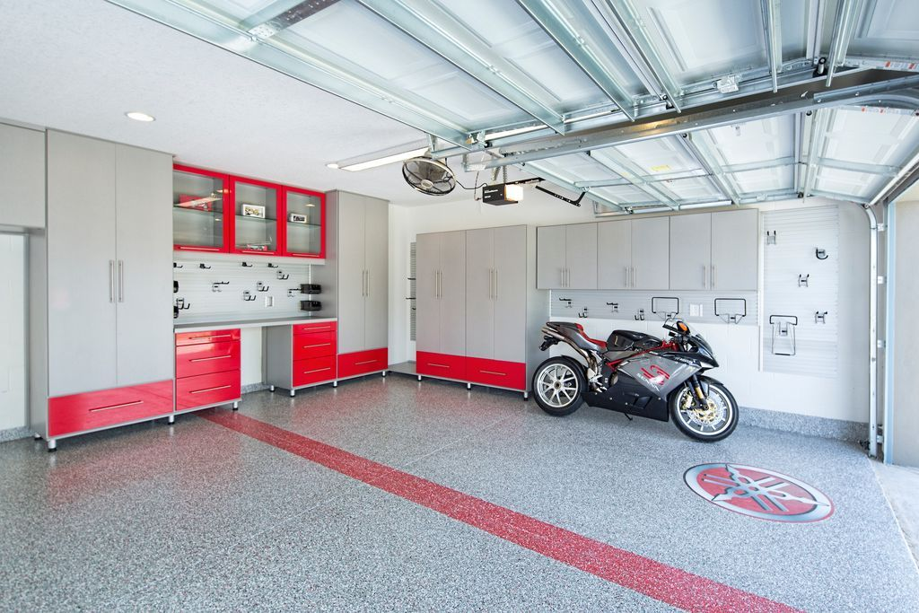 Modern Garage With Ceiling Fan, Box Ceiling, Simple Granite Floors, High  Ceiling,