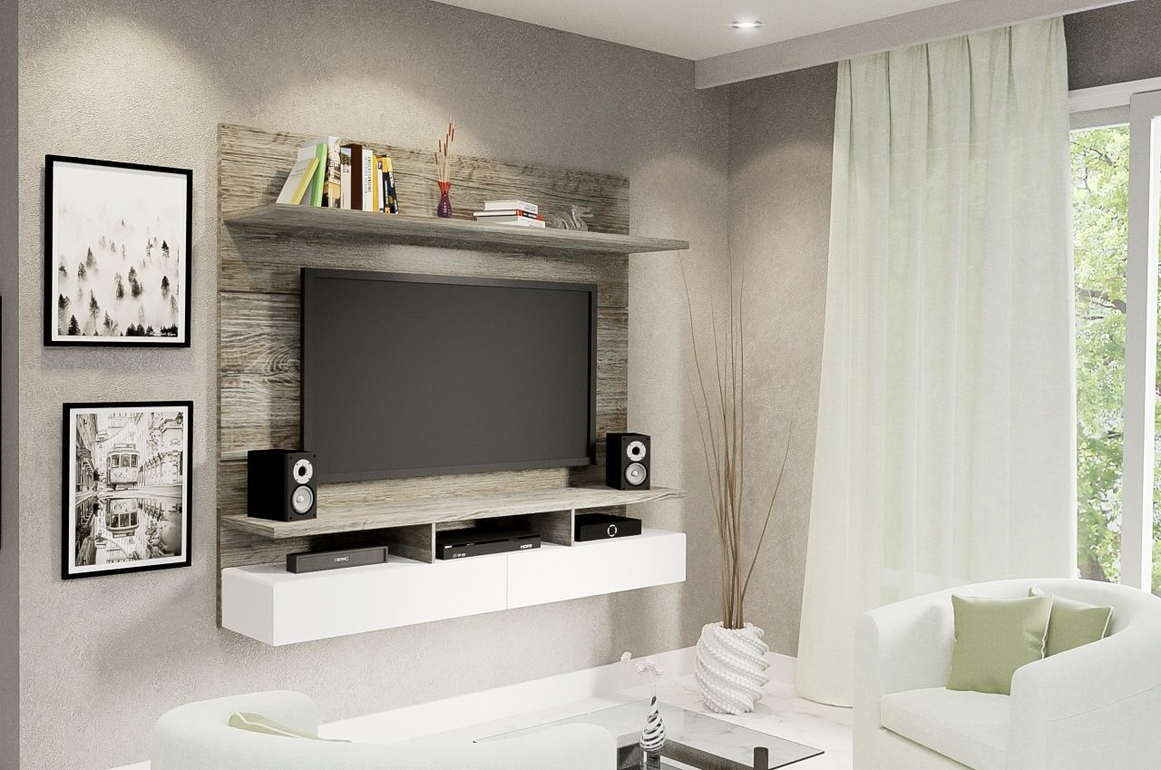 Vela Aged Stone 2 Tone Floating Tv Wall Unit Simplicity Can Be