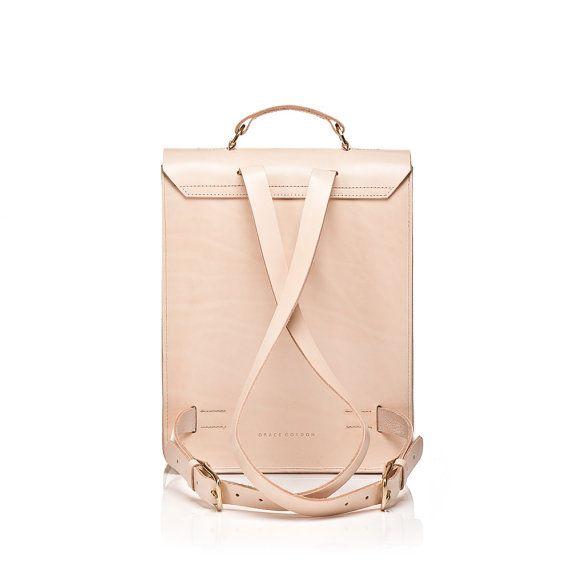 Emma Boxy Natural Leather Backpack by GRACEGORDONLDN on Etsy ...