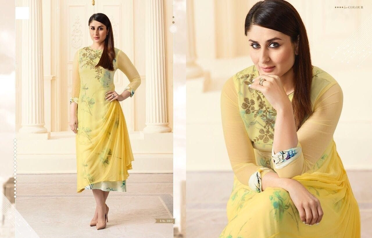 Kareena Kapoor In Yellow Kurti Kareena Kapoor Style Kurti Printed Kurti Floor Length Kurti Buy Kurti Online Bollywood Fashion Fashion Indian Fashion