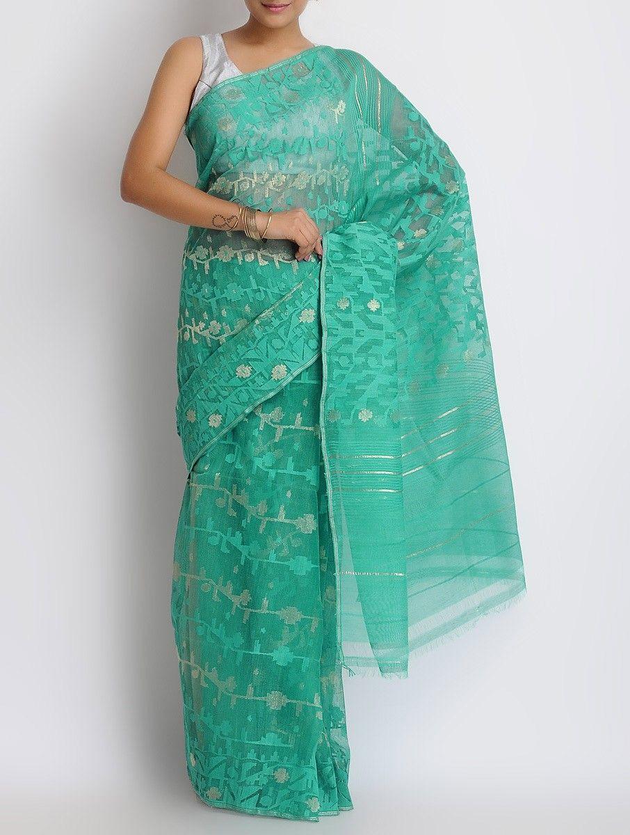 9ad68eaa08 Buy Sea Green Cotton Zari Dhakai Jamdani Saree Online at Jaypore.com
