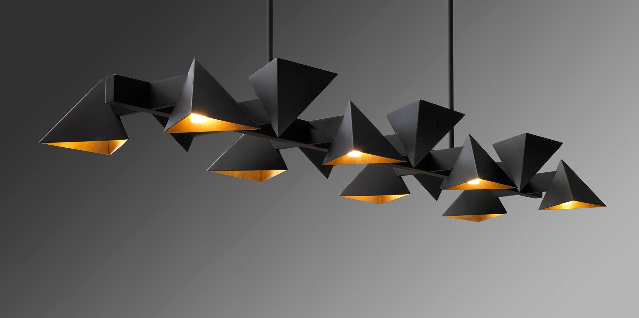 Jonathan Browning Studios Vichy Linear Chandelier Linear Chandelier Origami Lights Apartment Lighting