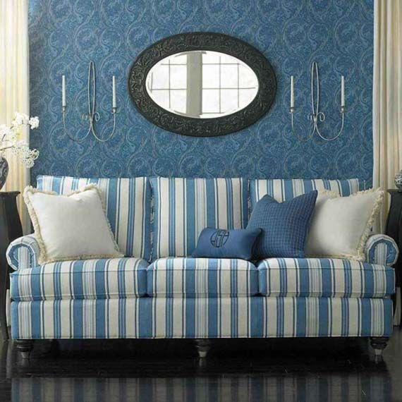 Blue and White Striped Sofa | Better Blue Sofa in 2019 | Striped ...