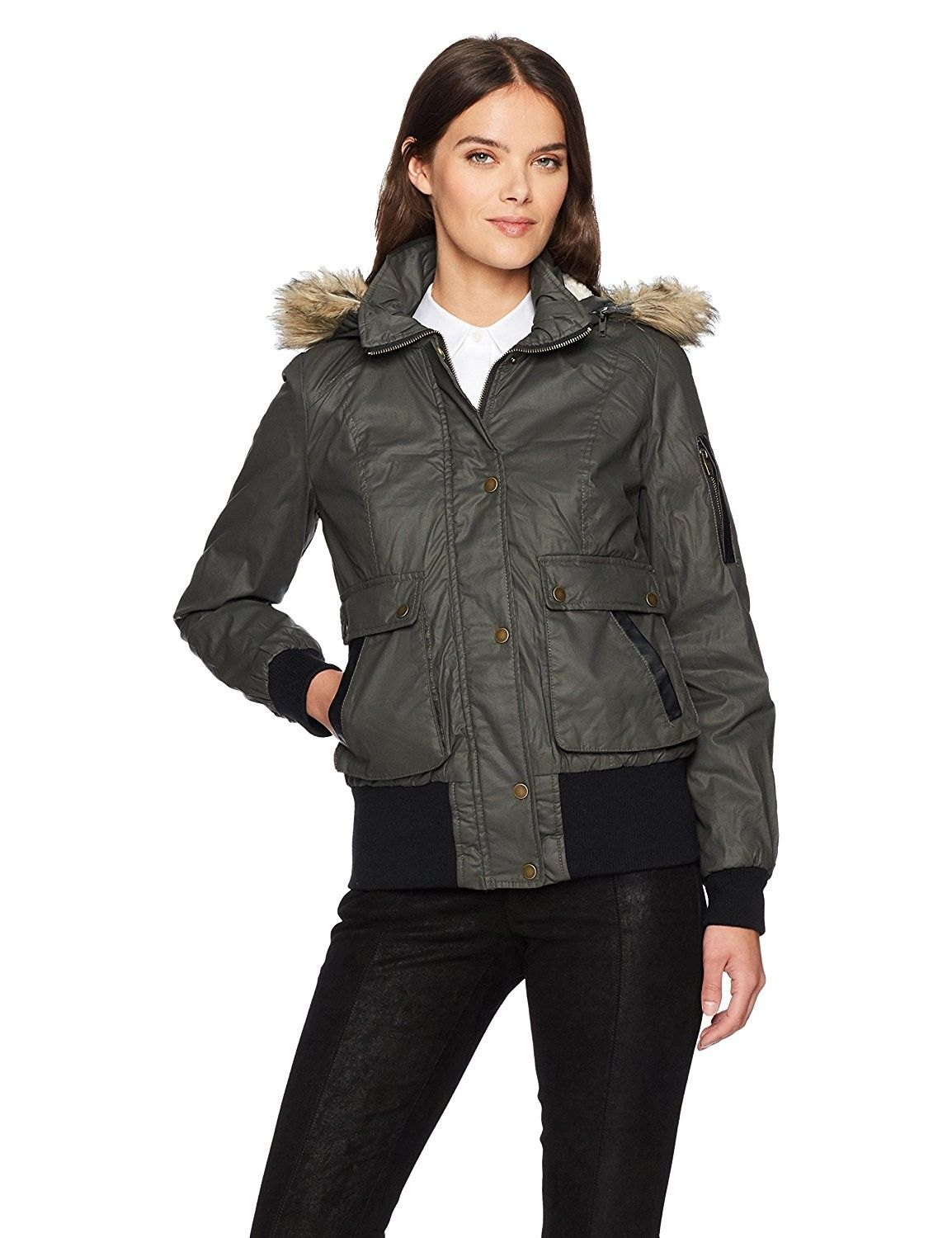 Women S Waxy Cotton Bomber Jacket With A Fur Hood Olive C3185s5gixe Womens Outdoor Clothing Quilted Bomber Jacket Jackets [ 1500 x 1154 Pixel ]