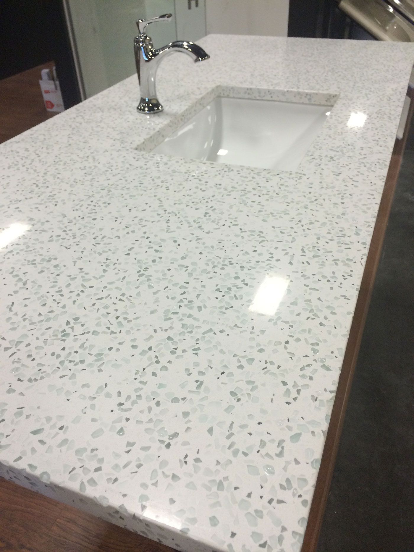 This Is The New Countertop Trend Curava In Element Color Durable And Affordable Green Living Glass Countertops Recycled Glass Countertops Diy Countertops