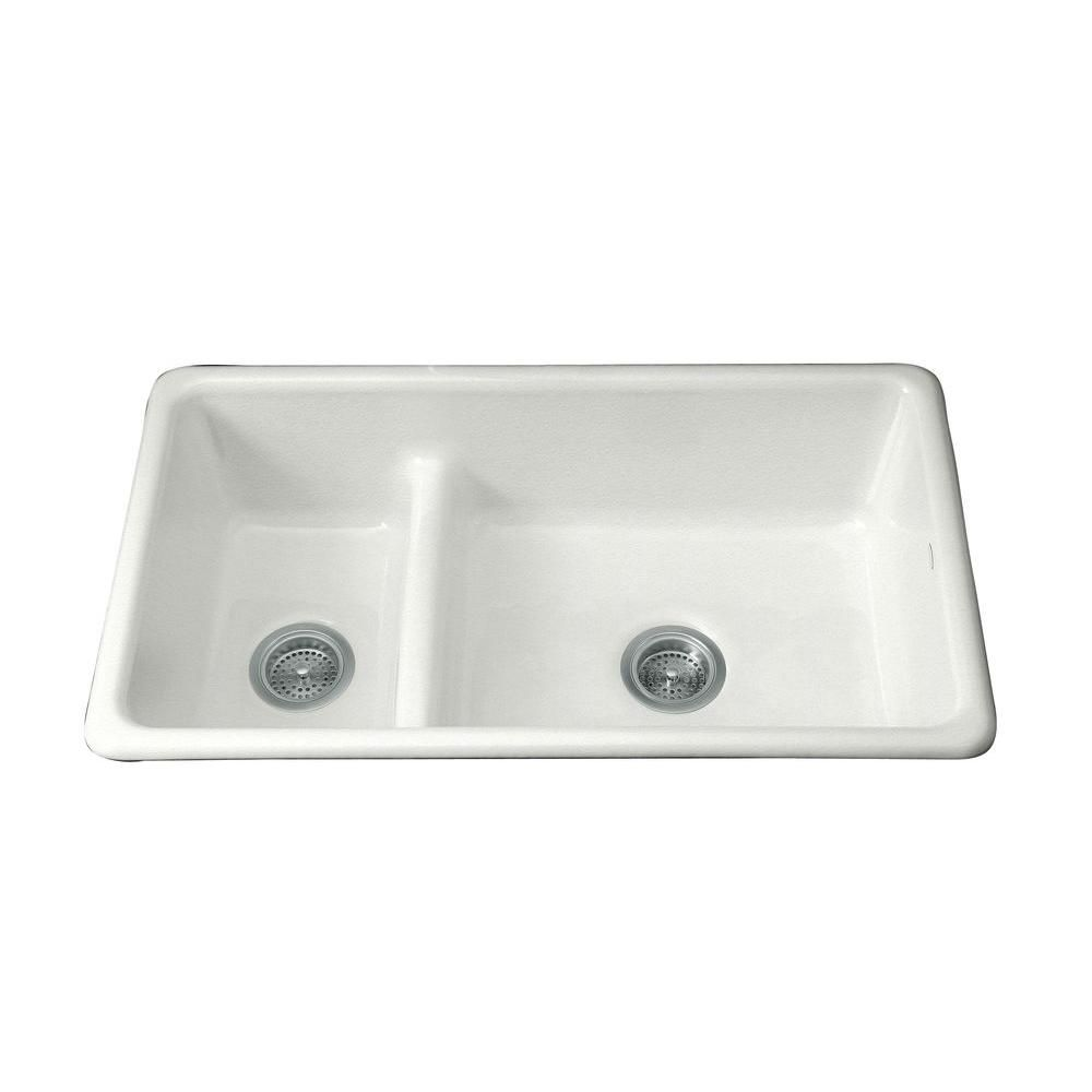 Iron/Tones Smart Divide Top-Mount/Undermount Cast-Iron 33 in. Double Bowl Kitchen Sink in