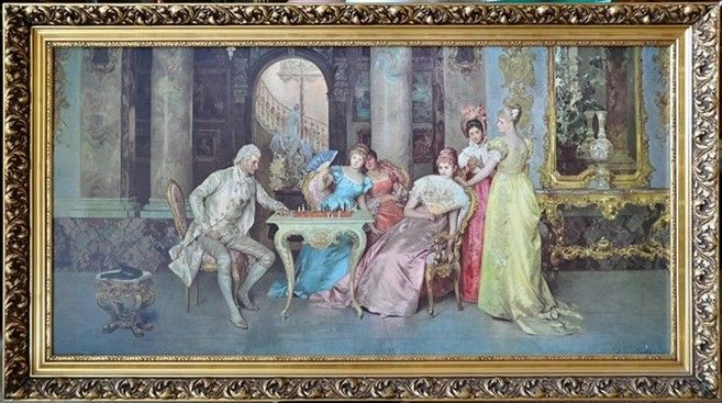 The Chess Game By Francesco Beda Oil Paintings Watercolors