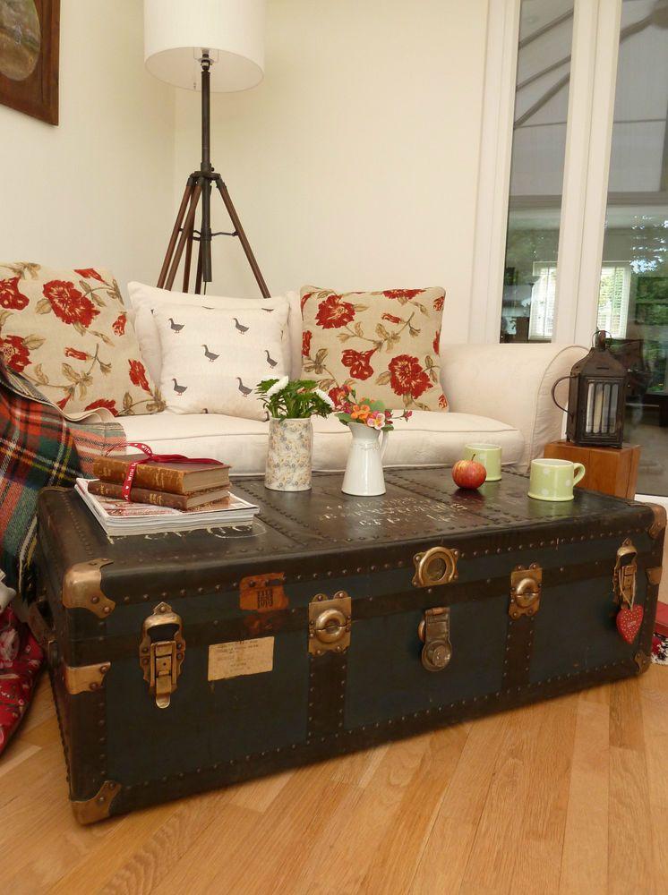 vintage retro steamer trunk old raf luggage quirky coffee table rh pinterest com
