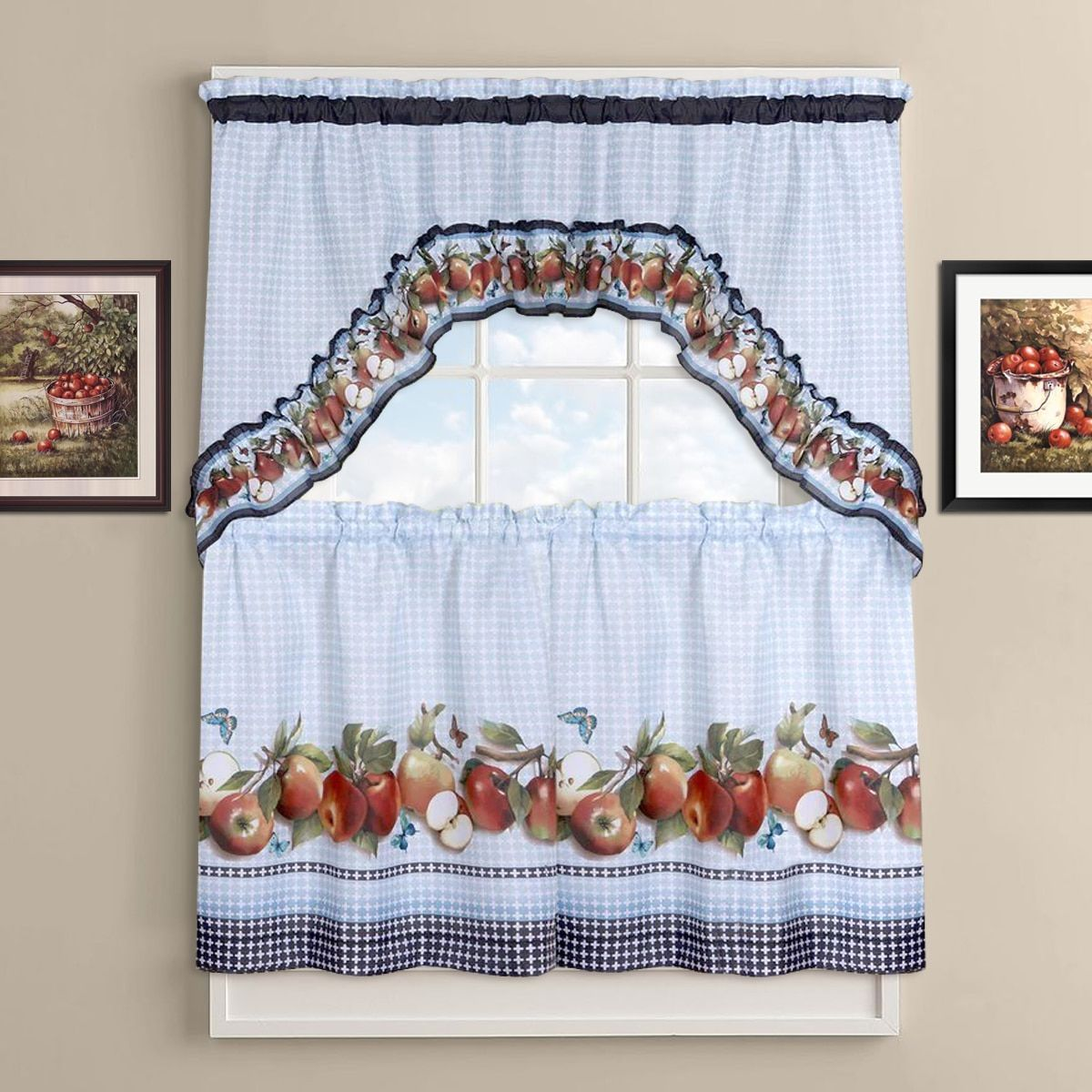 Delicious Apples Kitchen Curtain Tier And Valance Set 36 Inch
