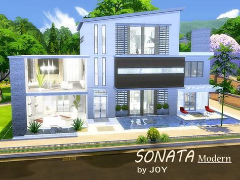 Sonata modern house by joy at tsr via sims updates  also best bloxburg home images houses cc rh pinterest