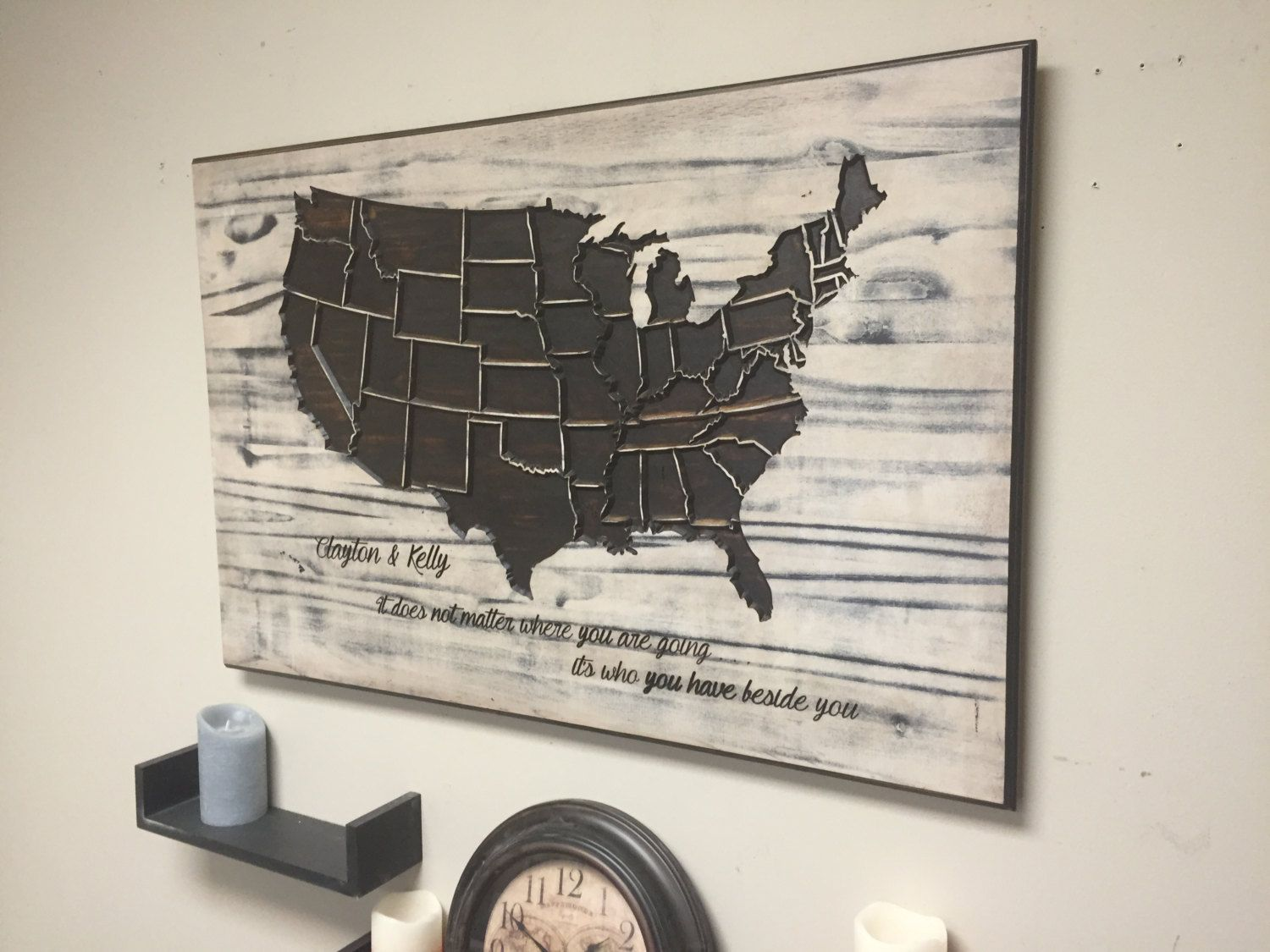 Rustic US Map Wood Wall Art carved