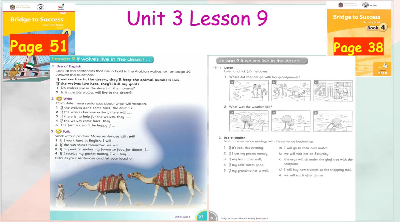 بوربوينت Unit 3 Lesson 9 للصف الرابع مادة اللغة الانجليزية Success Books Lesson Books