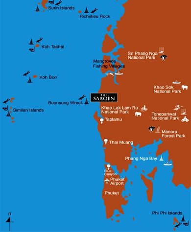 Location Map Sarojin Khao Lak Thailand Boutique Beach Resort