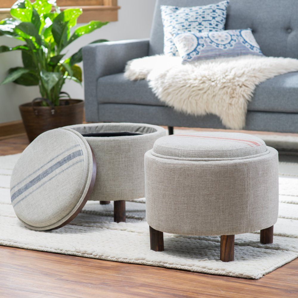 ottoman for living room%0A Belham Living Ingram Round Storage Ottoman with Cocktail Tray  Ottomans at  Hayneedle