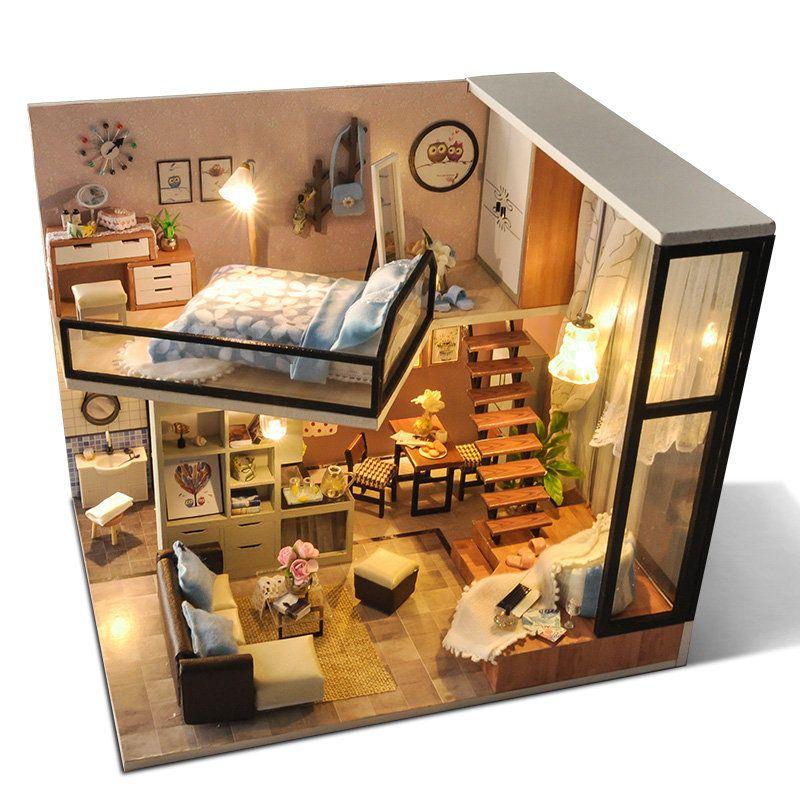 Topacc T-Yu TD16 Yoko Wei Meng DIY Dollhouse Avec Couverture Légère Miniature Modèle Cadeau Collection Décor Jouets - Newchic Mobile