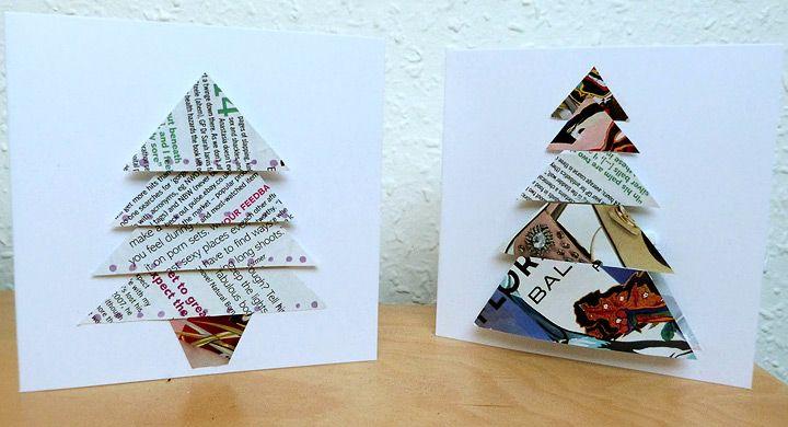 Árboles de Navidad con hojas de revistas y periódicos   School ...
