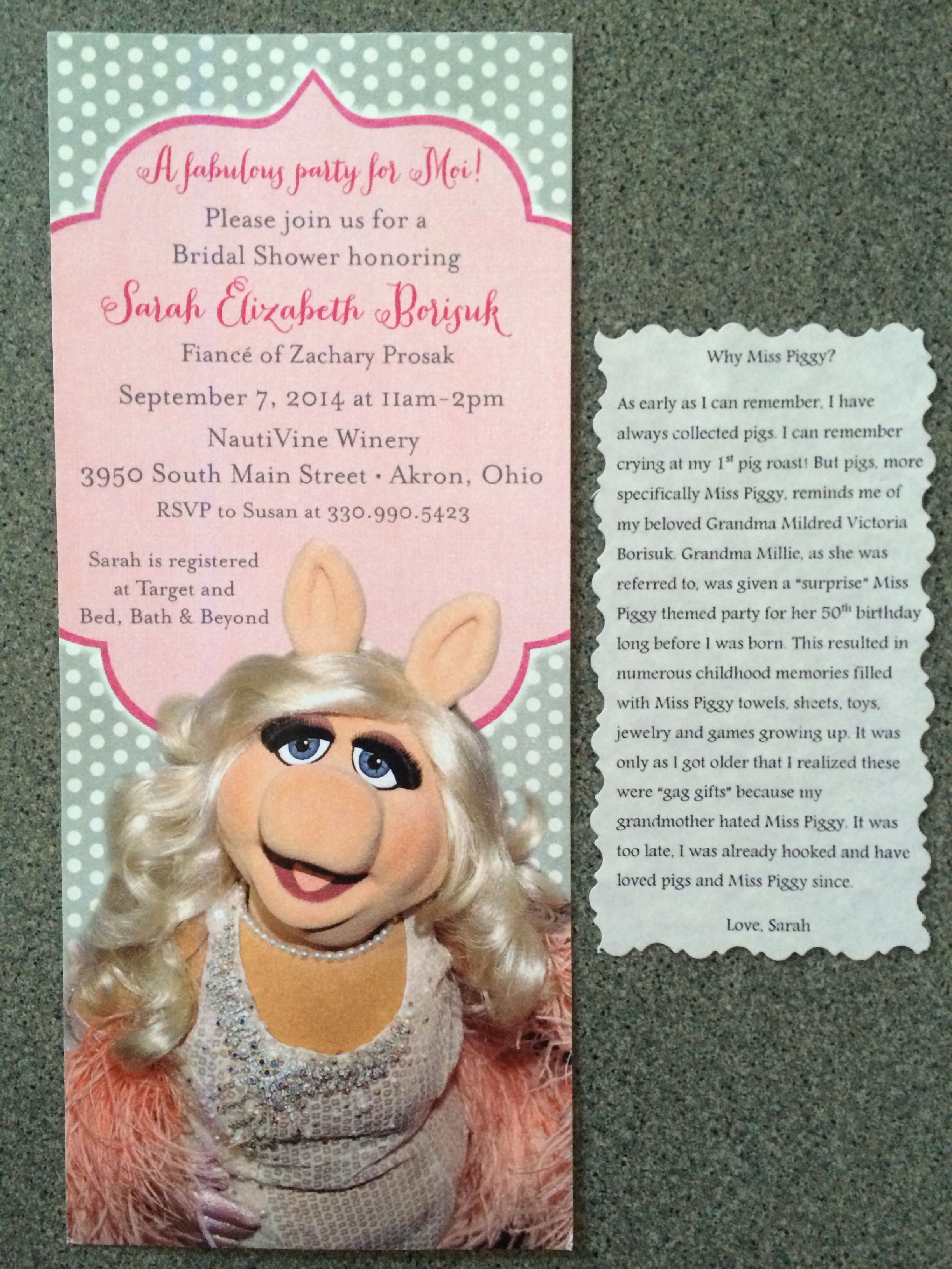 Miss piggy themed bridal shower invitations Miss