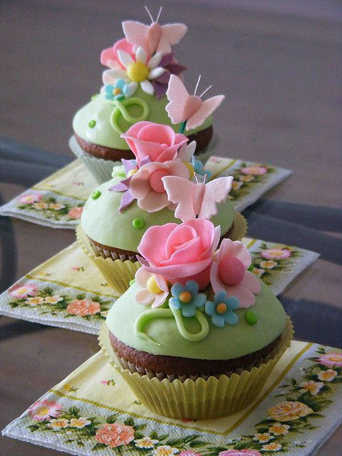 Pink, Green, and Yellow pastel colored cupcakes. Heavenly Cupcakes-pin board by Asher Socrates. #cupcakes #tea #teaparty #easter #ashersocrates