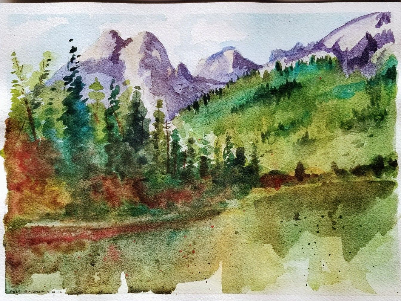 Following Along With Steve Atkinson Wyoming Mountain Scene In