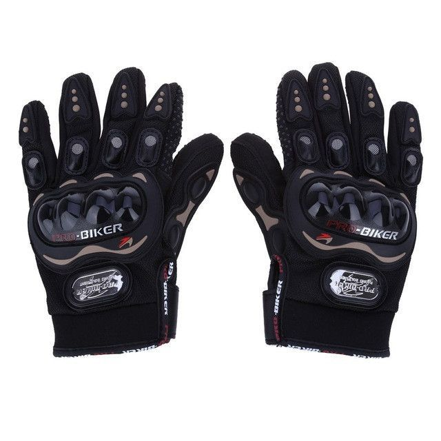Free Shipping PRO Full Finger Protective Gear Black Carbon Fiber Pro-Biker Bike Motorcycle Motorbike Racing Gloves Luvas M/L/XL