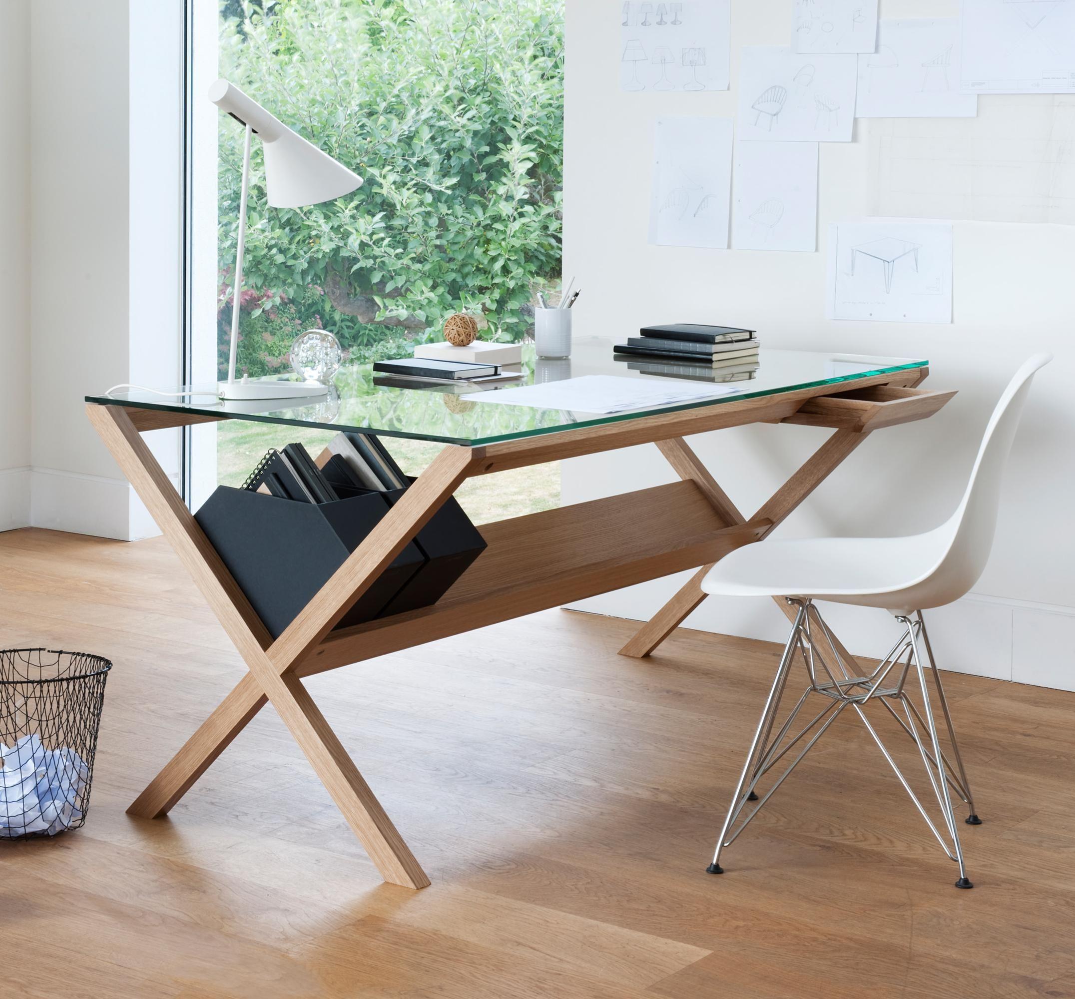 case furniture covet desk wood and glass office workspace rh pinterest com