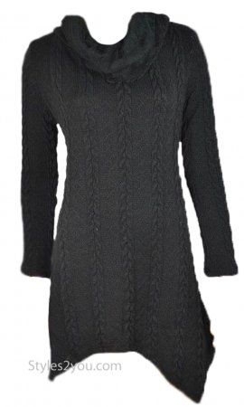 Tegan Ladies Cowl Neck Cable Knit Sweater Shirt Dress In Black