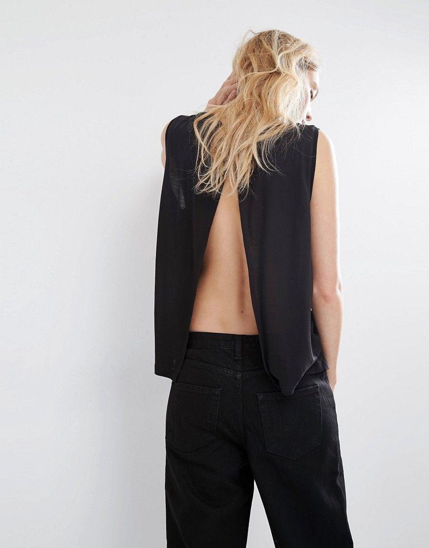 ASOS open back black top