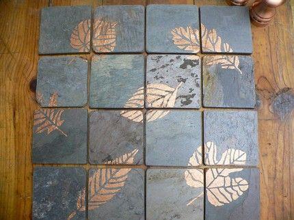 New Dominion Blues Copper Leaf Tile Backsplash All